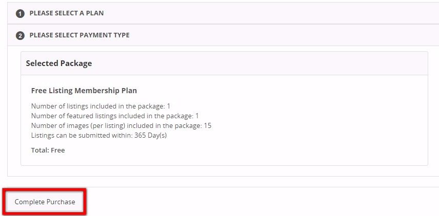 Complete Free Listing Plan Purchase